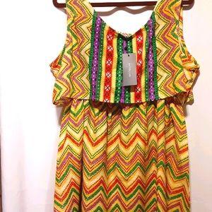 Aztec Elastic Waist Cotton Dress - XL